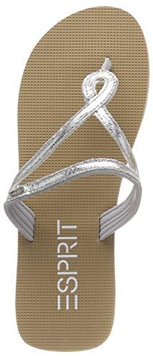 ESPRIT Damen Glitter Loop Pantoletten, Grau (Silver 090), 40 EU