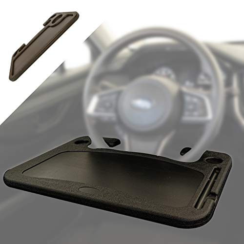 Car Tray Table for Driver Side Steering Wheel Desk Universal Drink Holder Side Table Tablet Car Desk Caddy for Drive Thru Dinner and Sauce Holder Loved by Police Officers, Truckers and Commuters