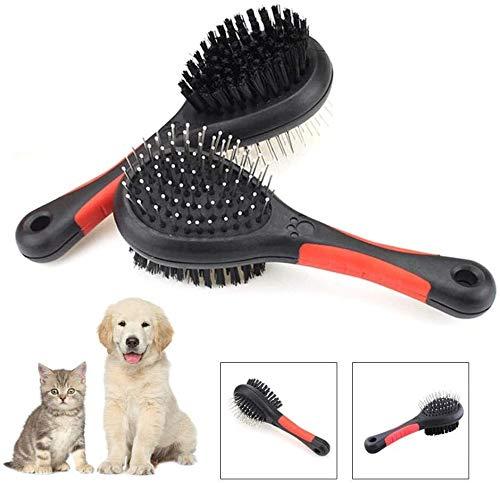 Pet dubbelzijdige borstel hond kat haar massage kam hond kammen haren van huisdieren schoonmaken kat hond kam (Color : Black, Size : 18x6x5.5cm)