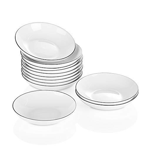 YOLIFE Plato de cerámica para salsa, plato de sushi, cuenco para tomate, soja, barbacoa, aperitivos, salsa y cena de fiesta, 9,5 cm, 51 ml, paquete de 12