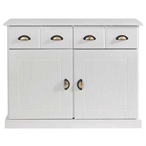 IDIMEX Anrichte Kommode Apothekerschrank Apothekerkommode Sideboard Paris mit 2 Schubladen 2 Türen, Kiefer massiv, weiß lackiert