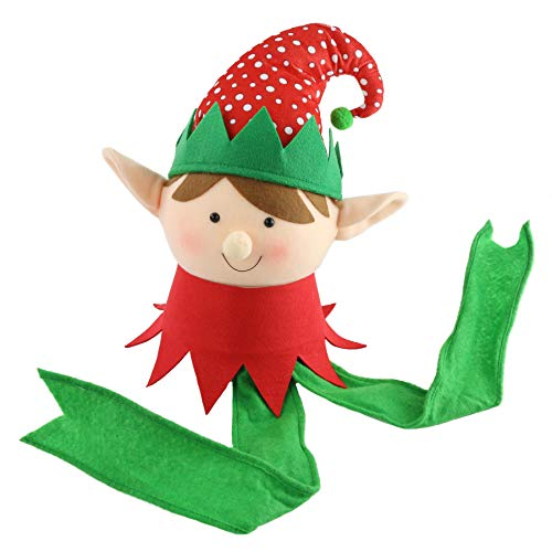 Athoinsu Adorable Christmas Elf Tree Topper Xmas Ornament Colorful XmasTree Holiday Party Decoration, 16''