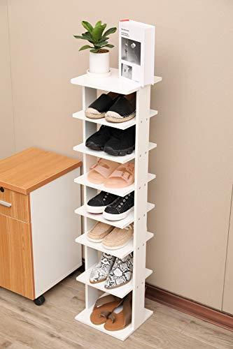 Lipo 7-Tier Shoe Racks Entryway Shoes Storage Stand Modern Vertical Shoe Rack Organizer Storage Shelf White
