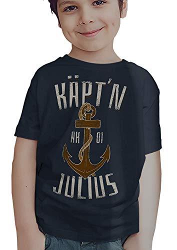 T-Shirt KÄPT´N Anker – INDIVIDUALISIERBAR mit Name eigener Wunschname Geschenk für den kleinen Kapitän Seemann Matrose Geburtstag Geburt Einschulung - Gr. 86-152