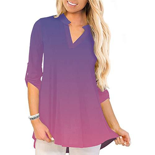 Damen Plus Size Rose Pfingstrose Sonnenblume Gedruckt Top Dreiviertel Roll-Ärmel Shirt Damen V-Ausschnitt Lose Blusen Tunika Top