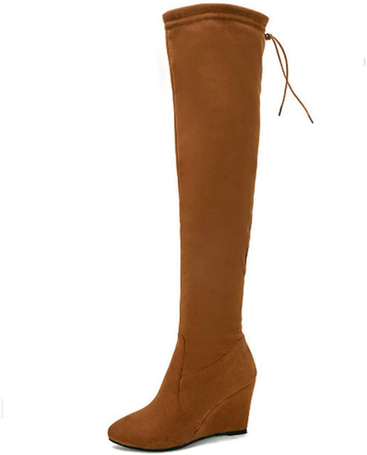 Woman Boot Wedges High Heel Zipper Over The Knee shoes Pointed Toe Lace Up Thigh High Boots