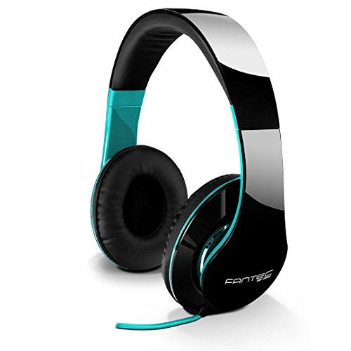 FANTEC SHP-250AJ Stereo HiFi Kopfhörer (mit Bügel, On Ear, 3, 5 mm Klinkestecker, Bassstark, Große und weiche Ohrpolster) schwarz/türkis
