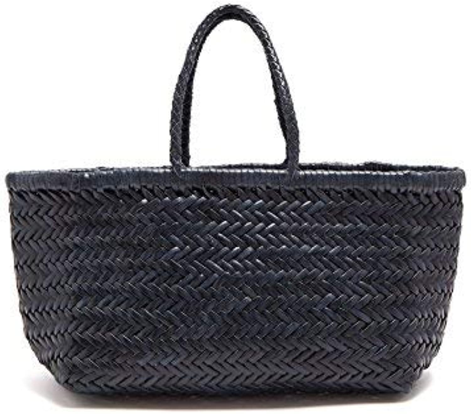 Woven Leather Tote Bag (Yoco) (Navy bluee, 20x15)