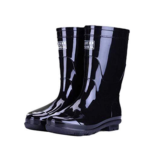 YQQMC Botas de lluvia negras para hombre al aire libre antideslizantes resistentes al desgaste botas de lluvia adecuadas para todas las estaciones en el jardín (color: negro, tamaño: 39)