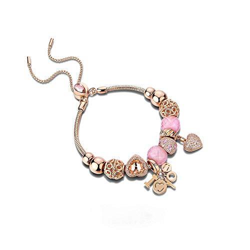 Star Language Armband Frau, Vergoldet 14k Gold Pfirsich Herz KüNstliche Zirkon Hand String, Ziehen Armband Damen Hand Schmuck