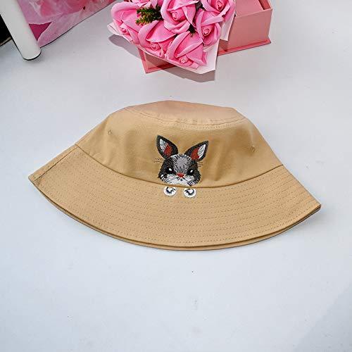 wopiaol Fischerhut weiblicher Frühling und Sommer kleine frische koreanische Version der Flut Wilde Stickerei Kaninchenhut Sonnenschutznetz roter Beckenhut