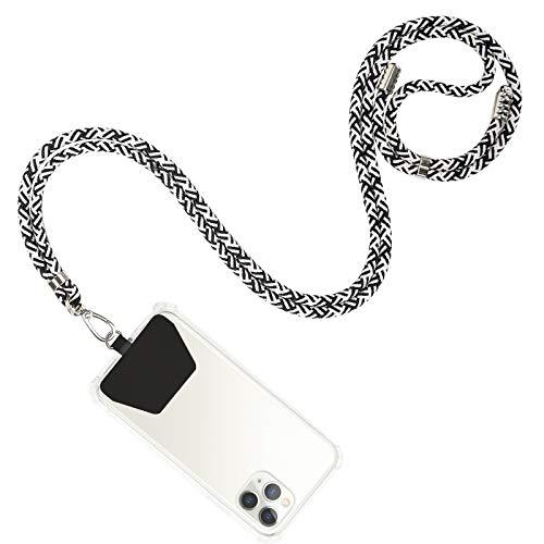 takyu Cordón de teléfono celular, correa de nailon ajustable, correa de seguridad compatible con la mayoría de los teléfonos inteligentes con funda de cobertura completa (cebra)