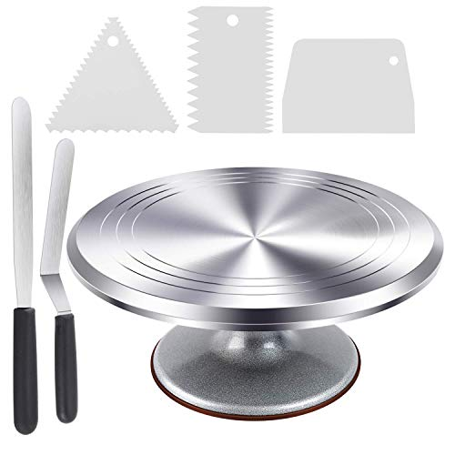 Cake Stand, Ohuhu Aluminium Revolving Cake Turntable 12 Rotating Cake Decorating Stand with 2 Icing Spatula and Comb Icing Smoother, Baking Cake Decorating Supplies