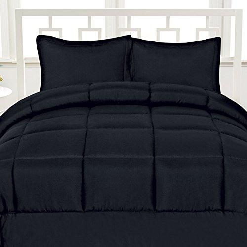 Aurora Bedding Luxurious Down Alternative Soft Solid Color Comforter Box Stitch Brushed Microfiber Bedding-King, Black