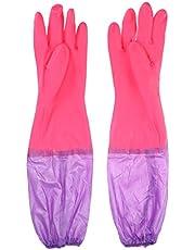 POPETPOP Guantes de acuario de goma largos impermeables para lavado y limpieza de peceras (color al azar)