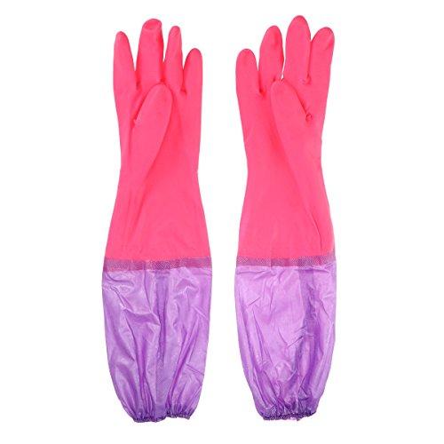 UEETEK 1 Paar Aquarium Handschuhe mit Dichter Elastische Versiegelte Unterarm für Kies Sand Wasserreinigung, 19,3 x 5,9 zoll (L * W)(Zufällige Farbe)