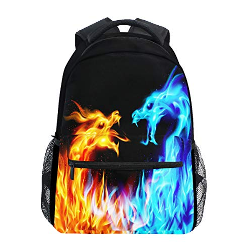 Red Blue Fire Dragon School Laptop Backpack Galaxy Teens Girls Boys Kids School Bags Bookbag, Monster Animal Water Resistant College Travel Computer Notebooks Daypack for Men Women