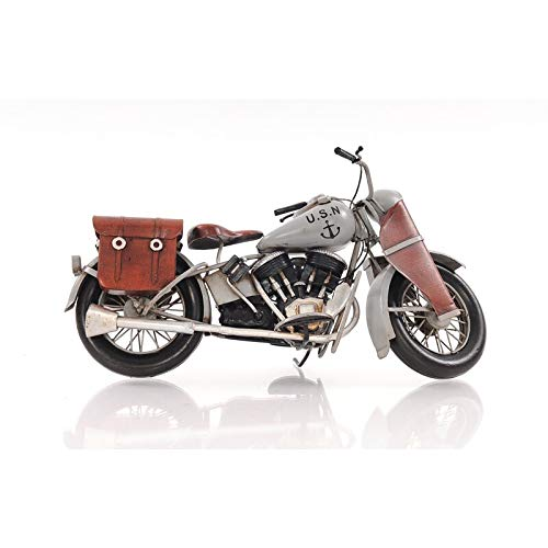1942 Indian Model 741 Grey Motorcycle Classic Metal Antique Handmade