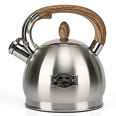 Tea Kettle for Stove Top Whistling,2.8 Quart Teapot for Stovetop Wooden Anti-Heat Pattern Handle With Loud Whistle, Food Grade Stainless Steel Tea Pot Water Kettle