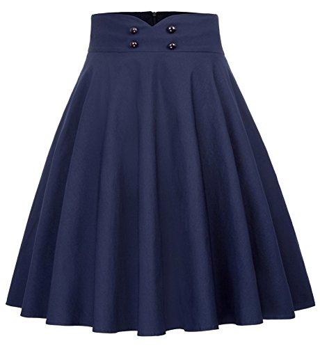 Damen Rock Faltenrock hohe Taille Basic Skirt Flared Rock a-Linie Rock BP560-2 L