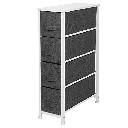 ZENY Narrow Vertical Dresser Storage Tower with 4 Drawers - Sturdy Metal Frame, Wood Top, Easy Pull Fabric Bins - Organizer Unit for Bedroom, Hallway, Entryway, Closet