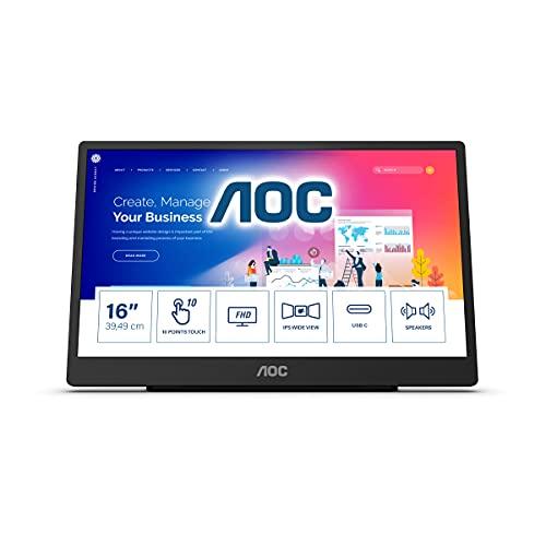 AOC 16T2 - Monitor táctil portátil USB-C de 16 Pulgadas, batería integrada de 8000 mAh, Altavoz (1920 x 1080, 60 Hz, USB-C, Micro HDMI), Color Negro