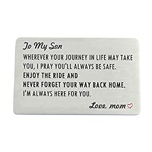 Engraved Wallet Card Insert for Son from Mom, Stainless Steel Wallet Cards with Mini Love Note, Sweet 16 Gifts for Son, Birthday, Graduation Gift for Him