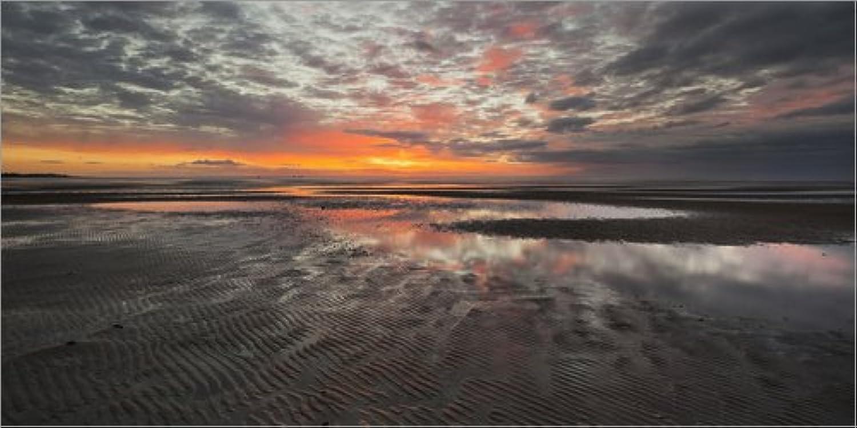 Posterlounge Leinwandbild 160 x 80 cm cm cm  Sonnenaufgang im Watt nahe List von Rainer Mirau Mauritius Images - fertiges Wandbild, Bild auf Keilrahmen, Fertigbild auf echter Leinwand, Leinwanddruck B07FVCLPJD 1583c0