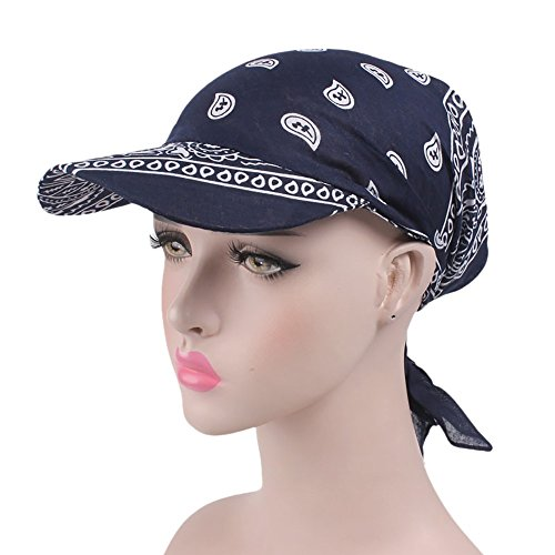 Fineday Women India Muslim Retro Floral Cotton Towel Cap Brim Turban Baseball Hat Wrap, Hat, Clothing Shoes & Accessories (Navy)