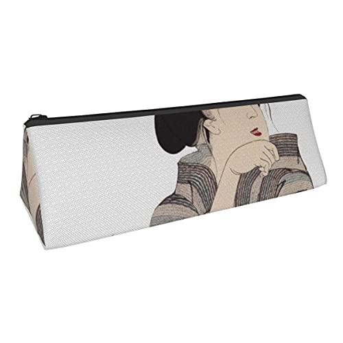 Hermoso diseño de geisha japonesa de pequeña capacidad triángulo bolsa de almacenamiento para niños y niñas, escuela, oficina, alicates de papelería