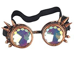 ZAIQUN Kaleidoscope Glasses Rivet Steampunk Windproof Mirror Vintage Gothic Rave Rainbow Crystal Lenses Steampunk Goggles #1
