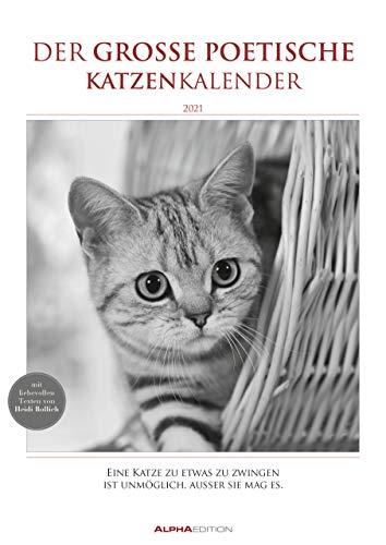 Der große poetische Katzenkalender 2021 - Literarischer Bild-Kalender A3 (29,7x42 cm) - mit Zitaten - schwarz-weiß - Tier-Kalender - Alpha Edition