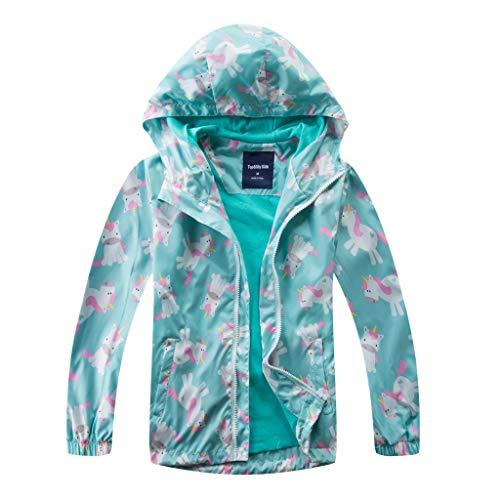 Vine Kids Waterproof Jacket Hooded Rain Jacket Girls Raincoat for Travelling Windbreaker Outdoor Sport Coats for Spring Fall, Red, 140cm