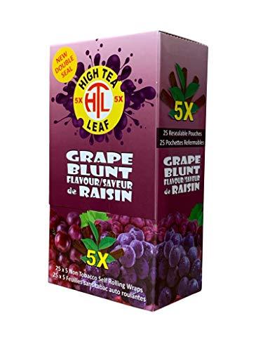 High Tea Leaf Hemp Wraps – Grape – 25 Pack Box (5 in each pack) 125 Wraps Total