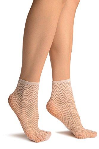 LissKiss White ZigZag Mesh Lace Socks Ankle High - Wei? Socken, Einheitsgroesse (37-42)