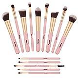 Pinselset Makeup, Yuwaku Kosmetikpinsel 14 Stück Premium Synthetic Contouring Blender Bronzer Concealers Erröten Kosmetik Kit (Rosa & Gold)