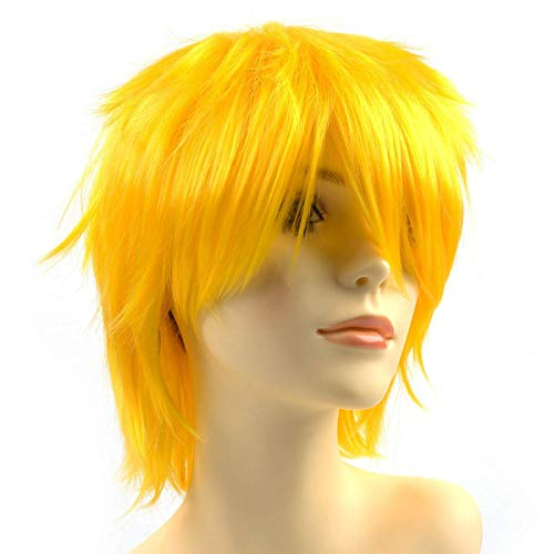 Modernfairy Anime Halloween Wig Yellow for Cosplay Party, Synthetic Layered Short Hair Wigs with Bangs, Pastel Wigs for Women Men Kids