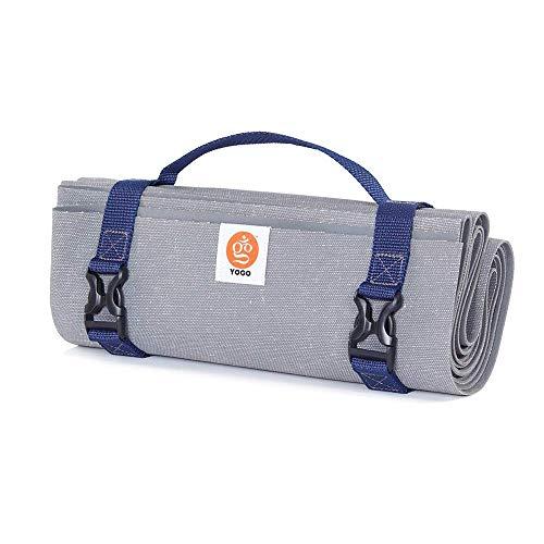 Yogo Ultraleichte Reise Yoga-Matte, mit integrierten Gurten Falten und Griff für Carry und Wasch (Plum Flax)