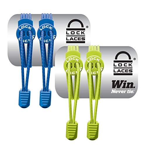 LOCK LACES Elastic No Tie Shoe Laces (Pack of 2) One Size Fits All (Blue-Green)