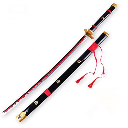 SUKLIER Espada De Madera De One Piece Cos, para Roronoa Zoro, Kozuki Oden Enma, CinturóN De Regalo Y Bolsa De Espada, RelacióN 1: 1 Genuina, Espada De Madera Katana Samurai Swords, 104 Cm
