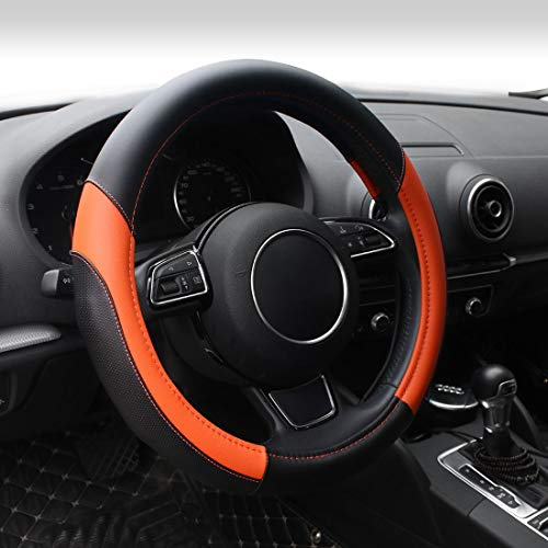 AOTOMIO Black & Orange Car Steering Wheel Cover TPE Material Durable Non-Slip Cover Universal 15 inch