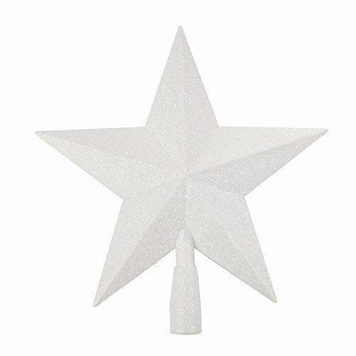 Robelli 3D Glitter Sterne Weihnachtsbaum Zylinder Dekoration (Verscheidene Farben) - Weiß