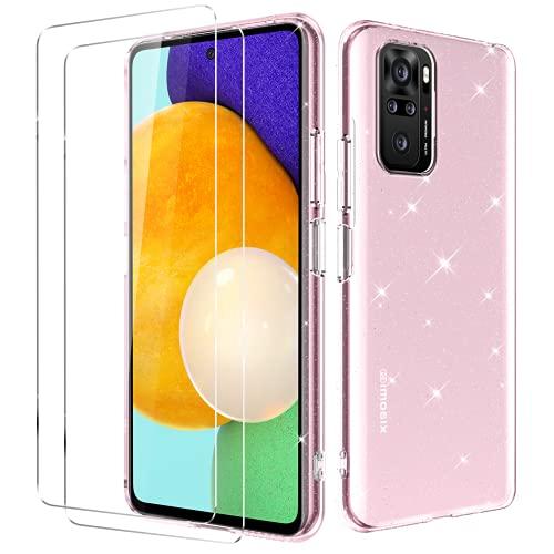 Oududianzi - Cover per Xiaomi Redmi Note 10 4G / Note 10S + [2X Pellicola Protettive in Vetro Temperato] [Cover Trasparente con Glitter] Custodia Protettiva Ultra Sottile in Silicone Antiurto - Rosa