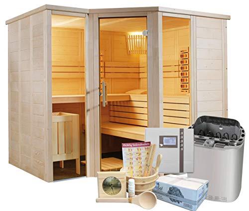 Well Solutions Saunakabine Arktis Infra+ inklusive Saunaofen Scandia Combi 9 kW, Saunasteuerung Econ H2 und Zubehör