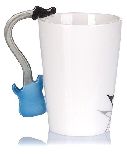 """Keramiktasse mit Motiv Henkel – Weiß Bedruckt """"E-Gitarre"""" Design ca. 0,2l – Tee & Kaffee Tasse zum Verschenken – Grinscard - 7"""