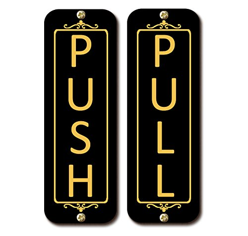 """Classic Vertical Push Pull Door Signs (Two Signs) Brass, Metal Signs (Brushed Silver, Gold Brass, Brushed Copper, or Black Finish) (Gloss Black, 2"""" x 6"""")"""