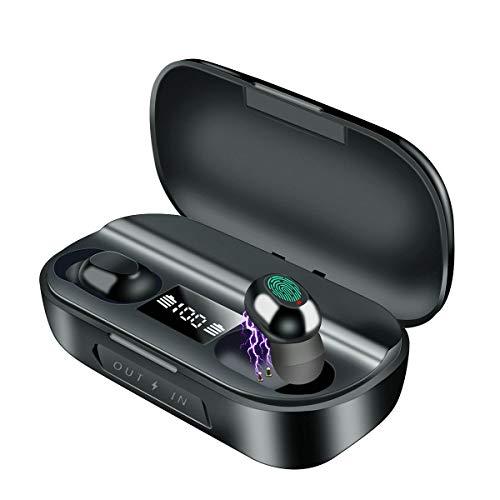 Abafia Auriculares Bluetooth Inalámbricos, TWS Auriculares Deportivos Bluetooth Estéreo HD en la Oreja con Estuche De Carga LED Display, Incorporado Control de Percusión, para iPhone/Android(N