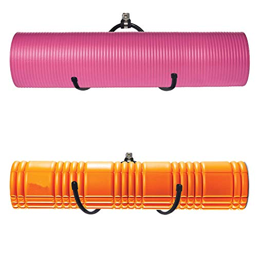 Yoga Mat Storage Foam Rollers Rack Rolled Bath Towels Holder Shelf - Solid Quality Wall Mountable for Bathroom Yoga room Yoga Massage Muscle Roller Exercise Mat, Adjustable Size,Up to 20Lbs - (2 Pack)