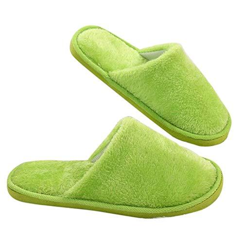ONEYMM Pantuflas de invierno para mujer y hombre, suaves, para el hogar, de algodón, gruesas, para interiores, deslizables, cómodas, 4,40