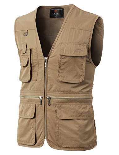 H2H Mens Casual Work Utility Hunting Travels Sports Vest with Multiple Pockets Brown US 2XL/Asia 3XL (KMOV0113)